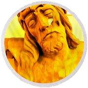 Yellow Christ #1 Round Beach Towel