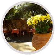 Yellow Chrysanthemum  Round Beach Towel