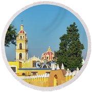 Yellow Church In Cholula, Mexico Round Beach Towel