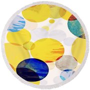 Yellow Circles Round Beach Towel
