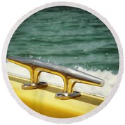Yellow Cleat Round Beach Towel