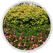 Yellow Coleus And Lantana At Pilgrim Place In Claremont-california Round Beach Towel