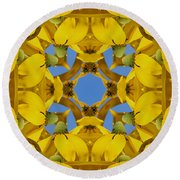 Yellow Coneflower Kaleidoscope Round Beach Towel