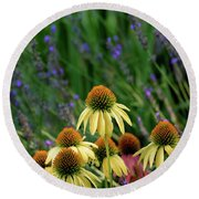 Yellow Coneflowers And Lavender 1633 H_2 Round Beach Towel