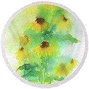 Yellow Coneflowers  Round Beach Towel