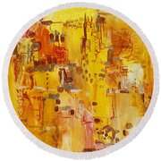 Yellow Conundrum Round Beach Towel