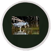 Yellow Crowned Night Heron Catches A Crab Round Beach Towel