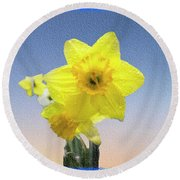 Yellow Daffodil On Canvas Round Beach Towel