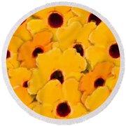 Yellow Daisy Flowers Round Beach Towel