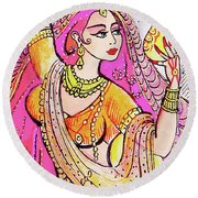Yellow Devi Round Beach Towel