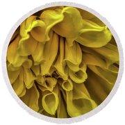 Yellow Dinner Plate Dahlia Round Beach Towel