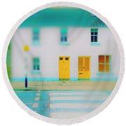 Yellow Doors Round Beach Towel