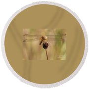 Yellow Dragonfly Round Beach Towel