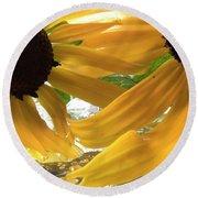Yellow Droplet Petals Round Beach Towel
