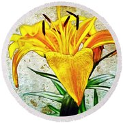 Yellow Easter Lily Round Beach Towel