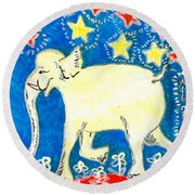 Yellow Elephant Facing Left Round Beach Towel by Sushila Burgess