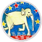 Yellow Elephant Facing Right Round Beach Towel