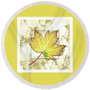 Yellow Fall Round Beach Towel