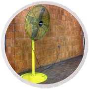 Yellow Fan Round Beach Towel