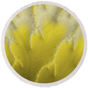 Yellow Feather Round Beach Towel