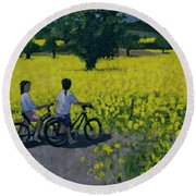 Yellow Field Round Beach Towel