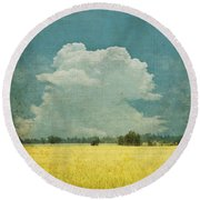 Yellow Field On Old Grunge Paper Round Beach Towel by Setsiri Silapasuwanchai