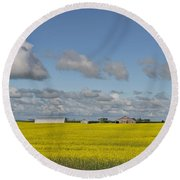 Yellow Fields And Blue Clouds Round Beach Towel