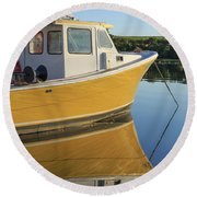 Yellow Fishing Boat Early Morning Round Beach Towel