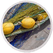 Yellow Floats Round Beach Towel