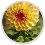 Yellow Flora Round Beach Towel