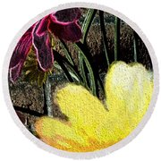 Yellow Floral Round Beach Towel