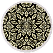 Yellow Floral Ornament Design Round Beach Towel