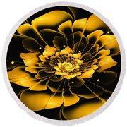 Yellow Flower Round Beach Towel