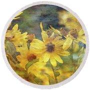 Yellow Flower View 4851 Idp_2 Round Beach Towel