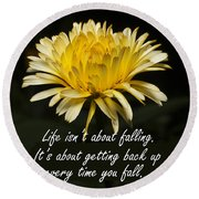 Yellow Flower With Inspirational Text Round Beach Towel