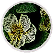 Yellow Flower Woodcut Round Beach Towel