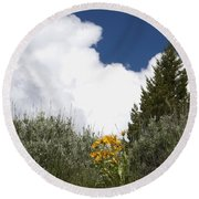 Yellow Flowers White Cloud Round Beach Towel