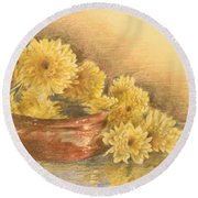Yellow Flowers With Still Life Round Beach Towel