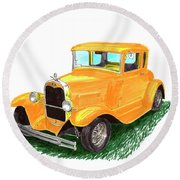 1932 Yellow Ford Hot Rod Coupe Round Beach Towel