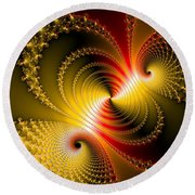 Yellow Gold Red Decorative Abstract Art Round Beach Towel