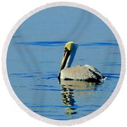 Yellow Headed Pelican Round Beach Towel