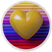 Yellow Heart On Row Of Colored Pencils Round Beach Towel