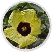 Yellow Hibiscus F134 Round Beach Towel