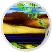 Yellow Hills Revisited Round Beach Towel