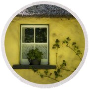 Yellow House County Clare Ireland Round Beach Towel