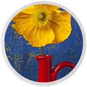 Yellow Iceland Poppy Red Pitcher Round Beach Towel