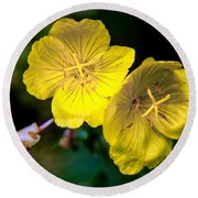 Yellow Is Gold Among The Flowers Round Beach Towel