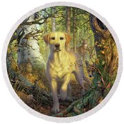 Yellow Lab In Fall Round Beach Towel