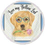 Yellow Lab-jp3869 Round Beach Towel
