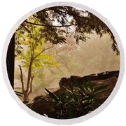 Yellow Leaves In The Mist Round Beach Towel